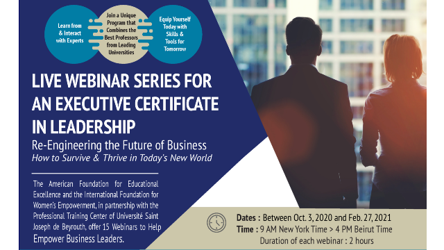 Live Webinar Series for an Executive Certificate in Leadership